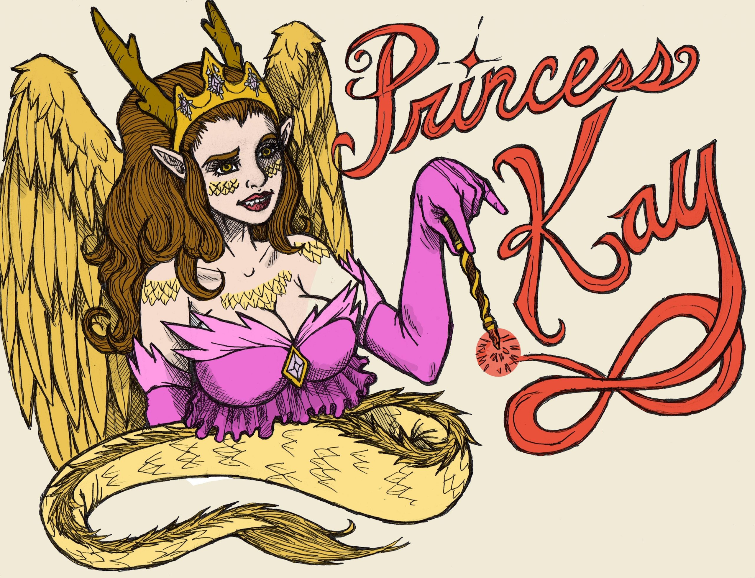A dragon girl, making the words Princess Kay with her wand